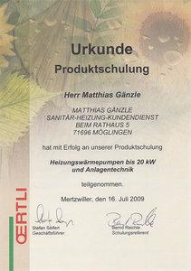Urkunde Produktschulung: Heizungswärmepumpen bis 20 kW und Anlagentechnik
