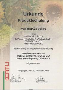 Urkunde Produktschulung: Gas-Brennwert-Kessel Optimat GMR 3000 condens und integrierter Regelung OE-tronic 4