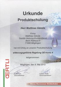 Urkunde Produktschulung: witterungsgeführte Regelung OE-tronic 4