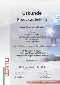 Urkunde Produktschulung: Öl-Brennwert-Kessel OEnovia Tower OSCR mit integrierter Regelung OE-tronic 4