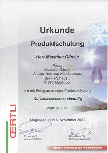 Urkunde Produktschulung: Öl-Gebläsebrenner einstufig